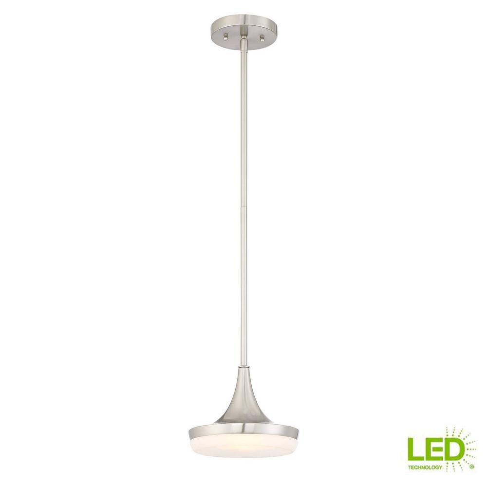 60-Watt Equivalent 8 in. Brushed Nickel Integrated LED Mini Pendant