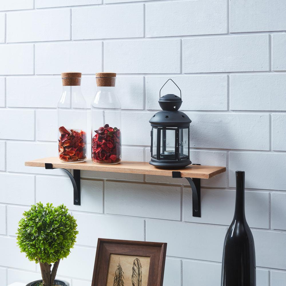 Urbanne 23.5 in. x 5.25 in. Rustic Pine Decorative Shelf with Metal Brackets