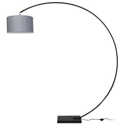 79 in. Black Floor Lamp with Silver Fabric Shade