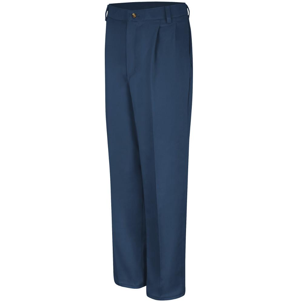 Red Kap Men S Size 46 In X 34 In Navy Pleated Front Cotton Pant