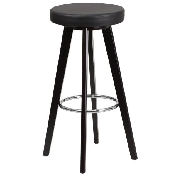 Flash Furniture 30 in. Black and Cappuccino Cushioned Bar Stool CH152601BKVY
