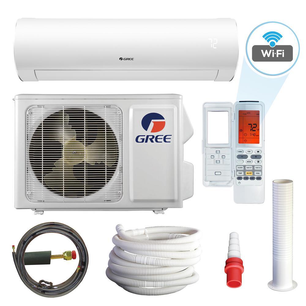Sapphire 12000 BTU 1-Ton Wi-Fi Programmable Ductless Mini Split Air Conditioner with Heat Kit 230-Volt to 208-Volt/60Hz