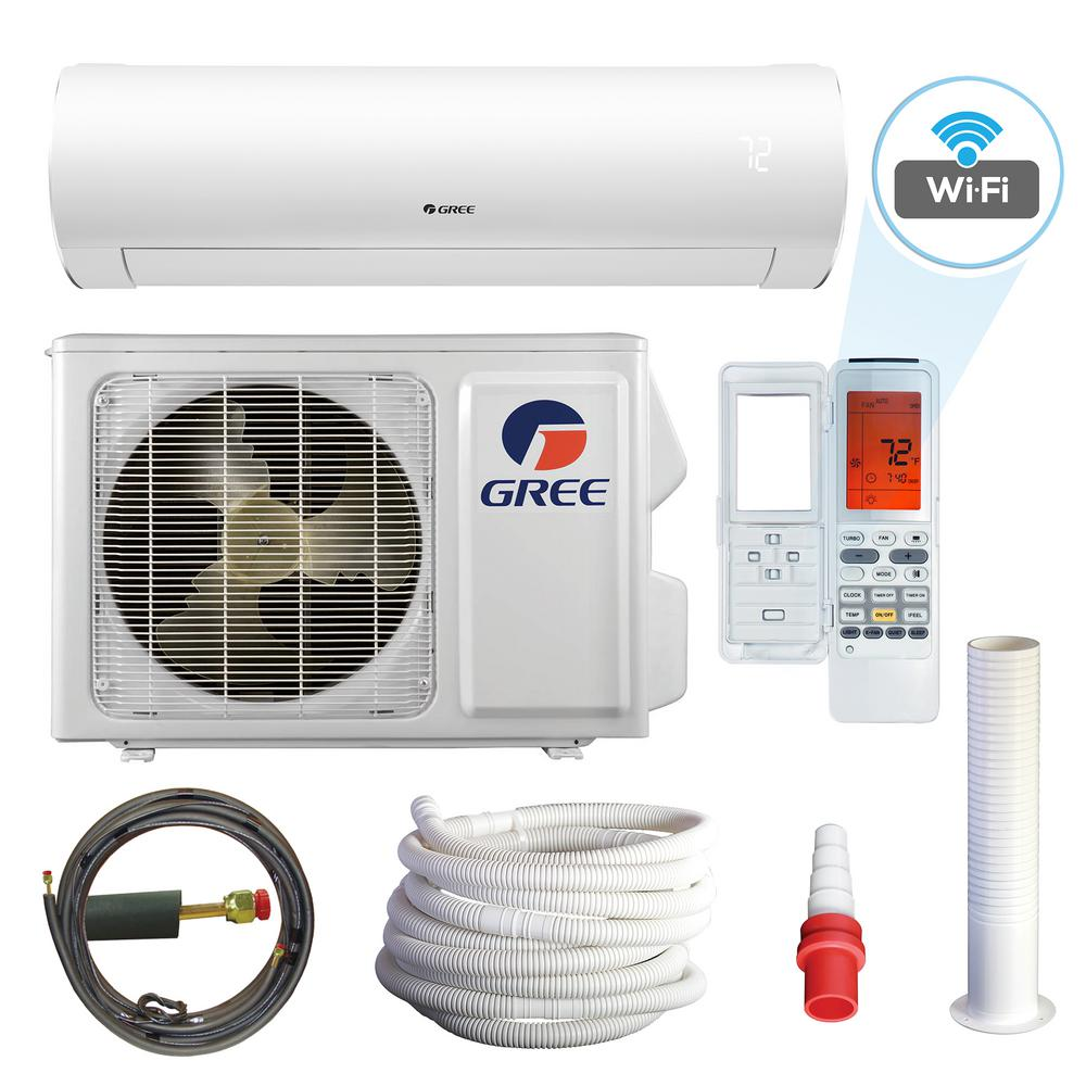 GREE Sapphire 12000 BTU 1-Ton Wi-Fi Programmable Ductless Mini Split Air Conditioner with Heat Kit 230-Volt to 208-Volt/60Hz