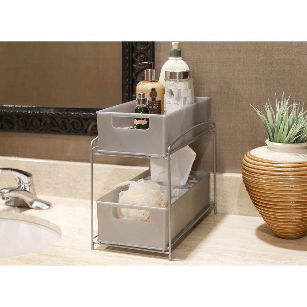 2-Tier Satin Pewter Pull-Out Sliding Drawer Kitchen Counter Organizer