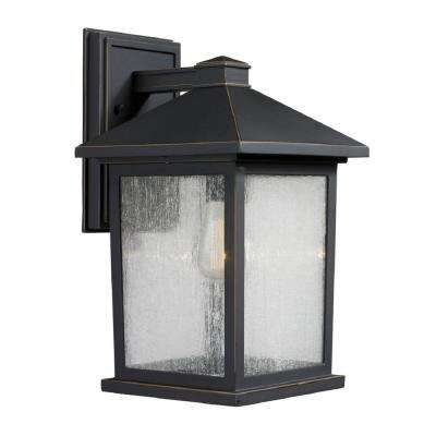 Malone 1-Light Oil Rubbed Bronze Outdoor Rustic Sconce with Clear Seeded Glass Shade