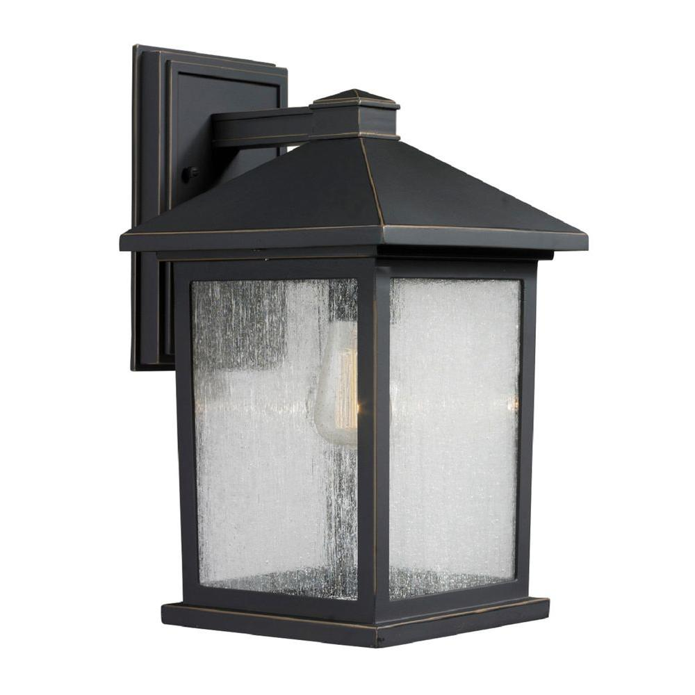 Filament Design Malone 1 Light Oil Rubbed Bronze Outdoor Rustic Wall Lantern Sconce With Clear Seeded Gl Shade