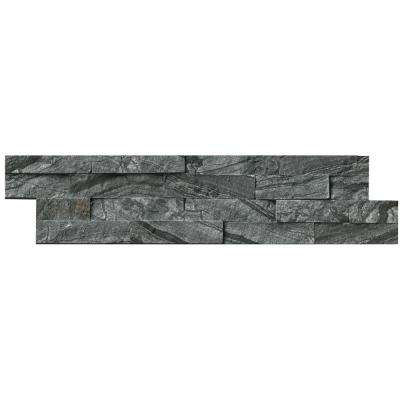 Glacial Black Ledger Panel 6 in. x 24 in. Natural Marble Wall Tile (6 sq. ft. / case)