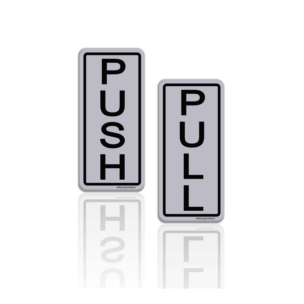 Push/Pull Door Stickers 2 in. x 5 in. Grey Vinyl Decals