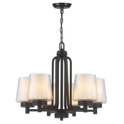 6-Light Oil-Rubbed Bronze Chandelier with Glass in Glass Shade