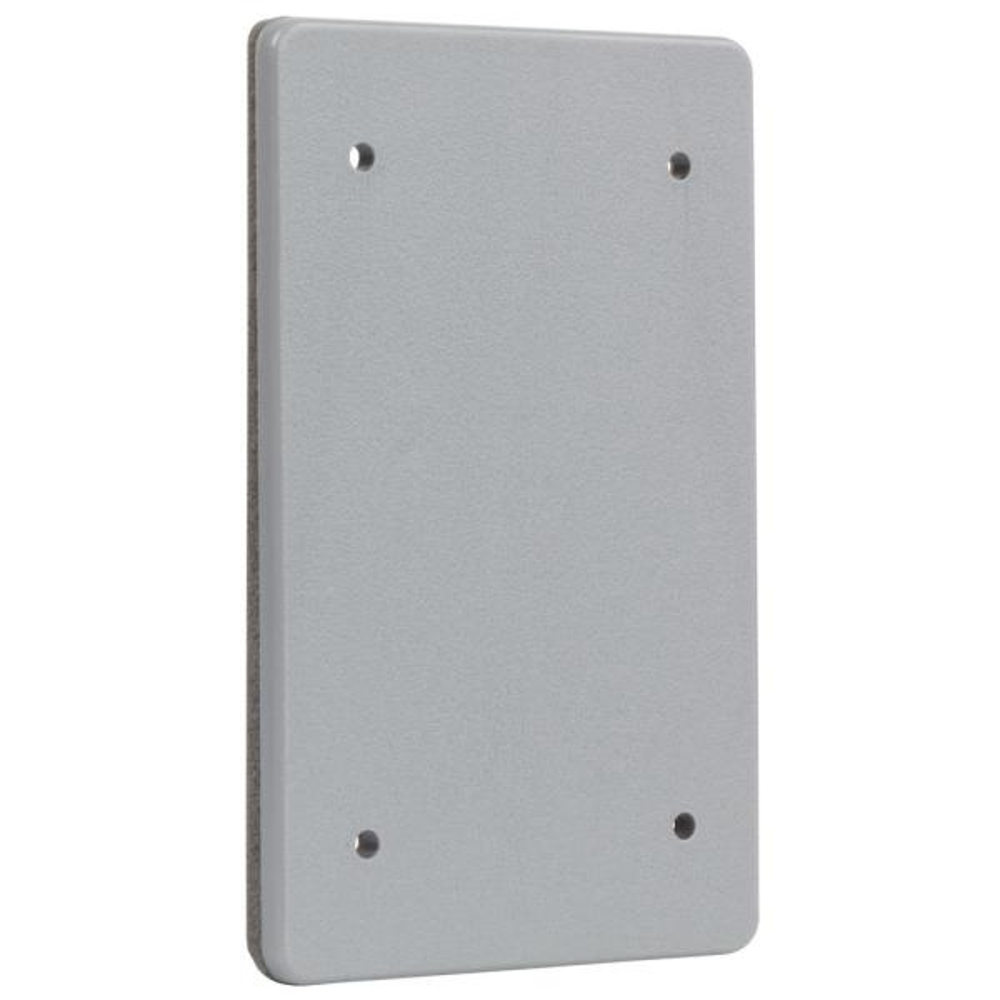 Gray 1-Gang Non-Metallic Weatherproof Blank Cover
