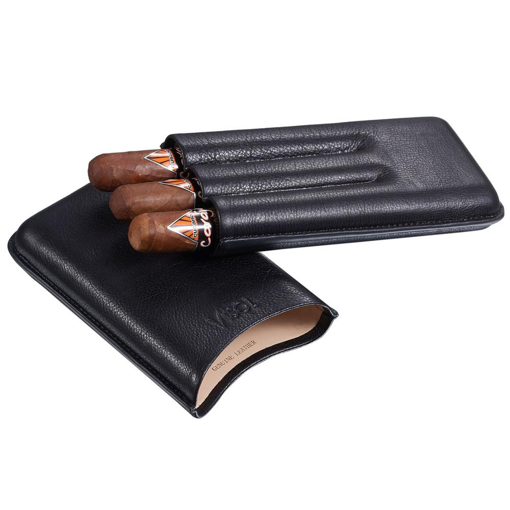 Legend Black Genuine Leather Cigar Case