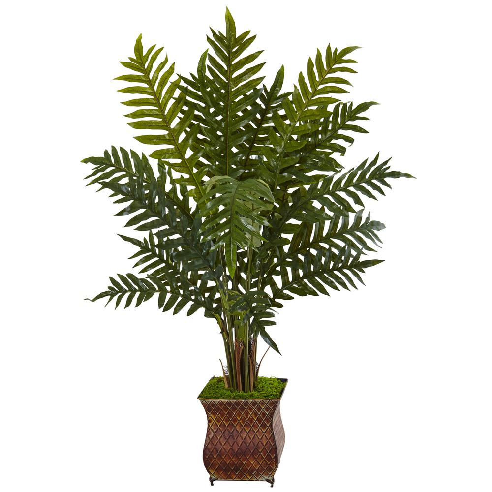 Indoor Evergreen Trees: Nearly Natural Indoor Evergreen Plant In Metal Planter