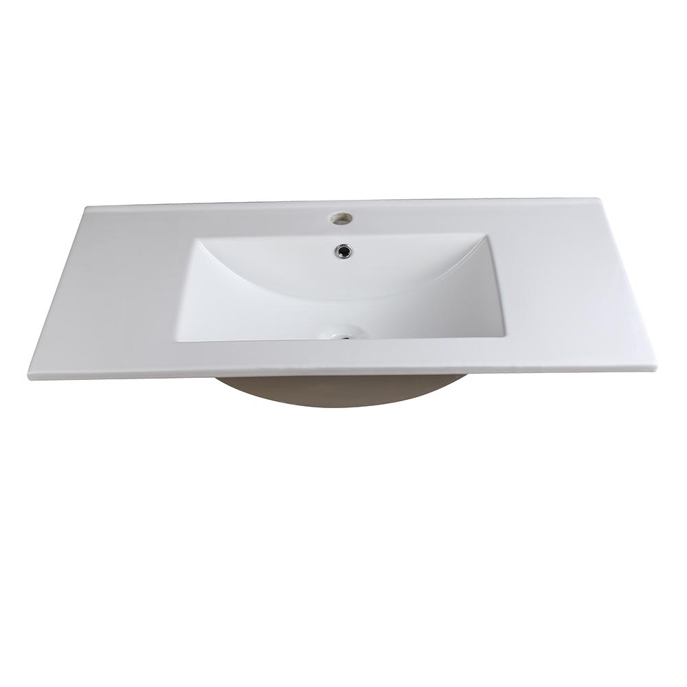 Allier 36 in. Drop-In Ceramic Bathroom Sink in White with Integrated