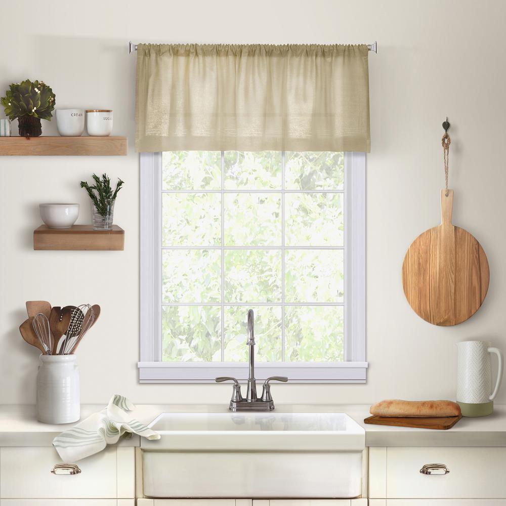 Elrene Cameron Single Window Kitchen Valance in Linen - 60 in. W x 15 in. L
