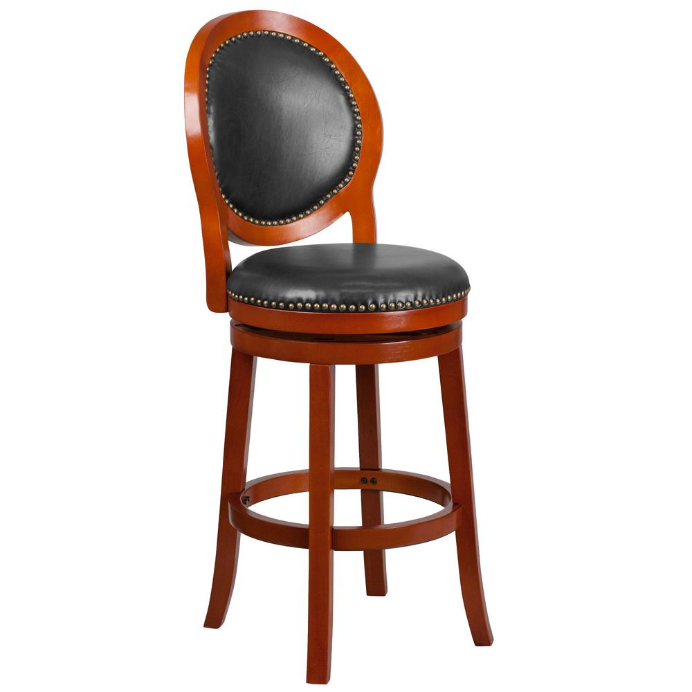 30.25 in. Light Cherry and Walnut Swivel Cushioned Bar Stool