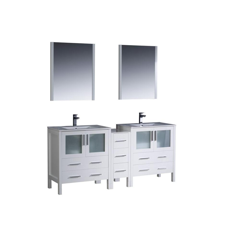 Fresca Torino 72 in. Double Vanity in White with Ceramic Vanity Top in White with White Basins and Mirrors
