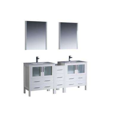 Torino 72 in. Double Vanity in White with Ceramic Vanity Top in White with White Basins and Mirrors
