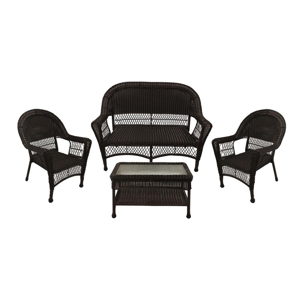 Tremendous Lb International 38 In Brown 4 Piece Resin Wicker Patio Furniture Set With Brown Cushion 2 Chairs Loveseat And Coffee Table Alphanode Cool Chair Designs And Ideas Alphanodeonline