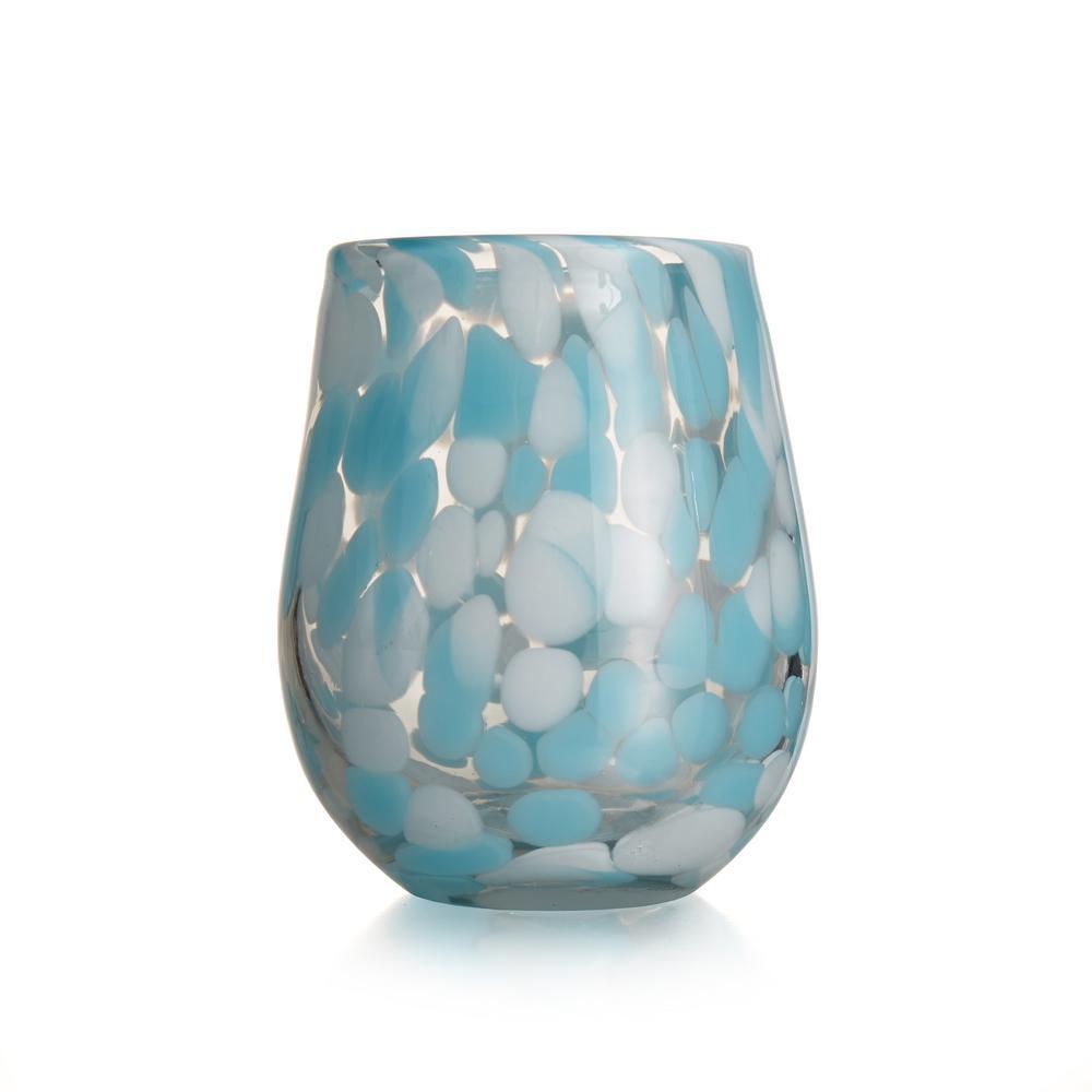 15.89 fl. oz. Splash Aqua Stemless Wine Glasses (4-Pack)