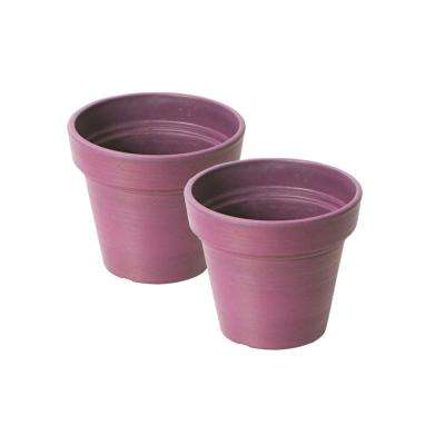 Valencia 6 in. Round Banded Spun Purple Plastic Planter (Pack of 2)