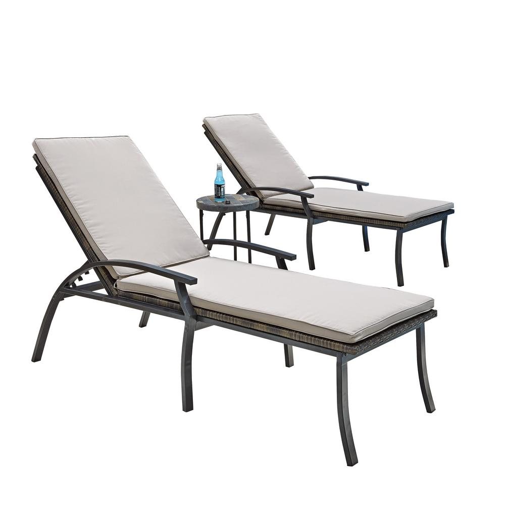 Home styles laguna black woven vinyl and metal patio for Chaise and lounge