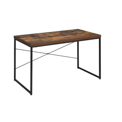 47 in. Rectangular Weathered Oak Writing Desks with Metal Frame