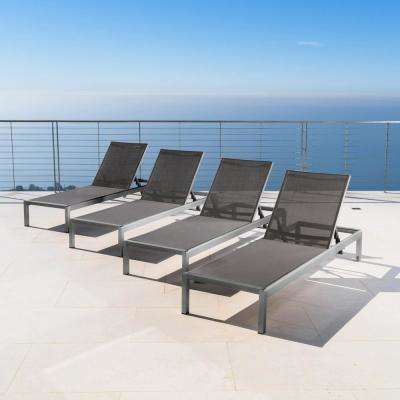 Valentina Dark Grey 4-Piece Metal Adjustable Outdoor Chaise Lounge
