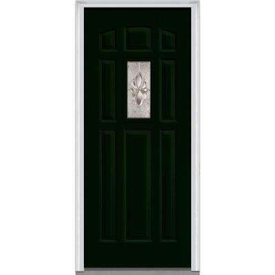 36 in. x 80 in. Heirloom Master Right-Hand 1-Lite Decorative 8-Panel Painted Fiberglass Smooth Prehung Front Door