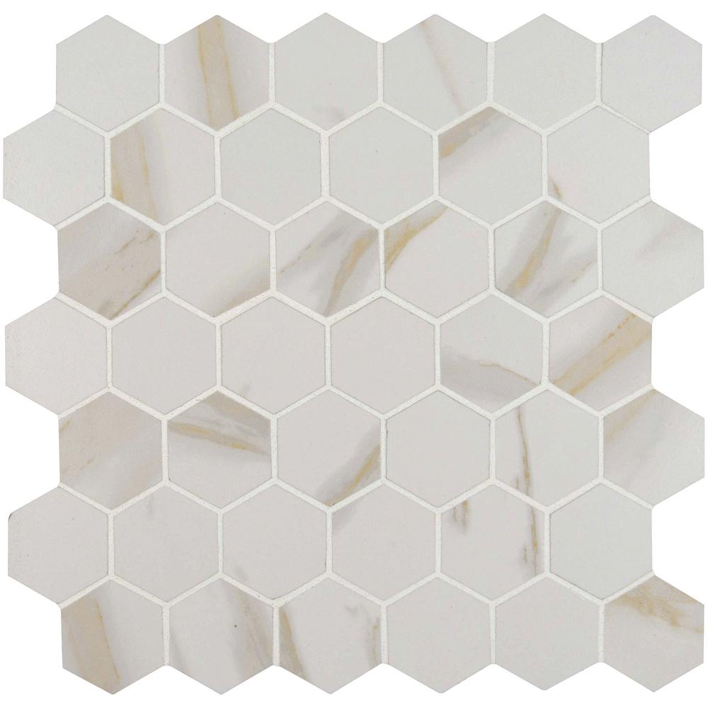 Calacatta Hexagon 12 in. x 12 in. x 10mm Porcelain Mesh-Mounted