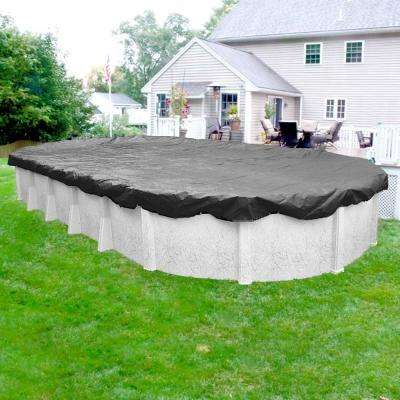 Ultimate 12 ft. x 24 ft. Pool Size Oval Charcoal Solid Above Ground Winter Pool Cover
