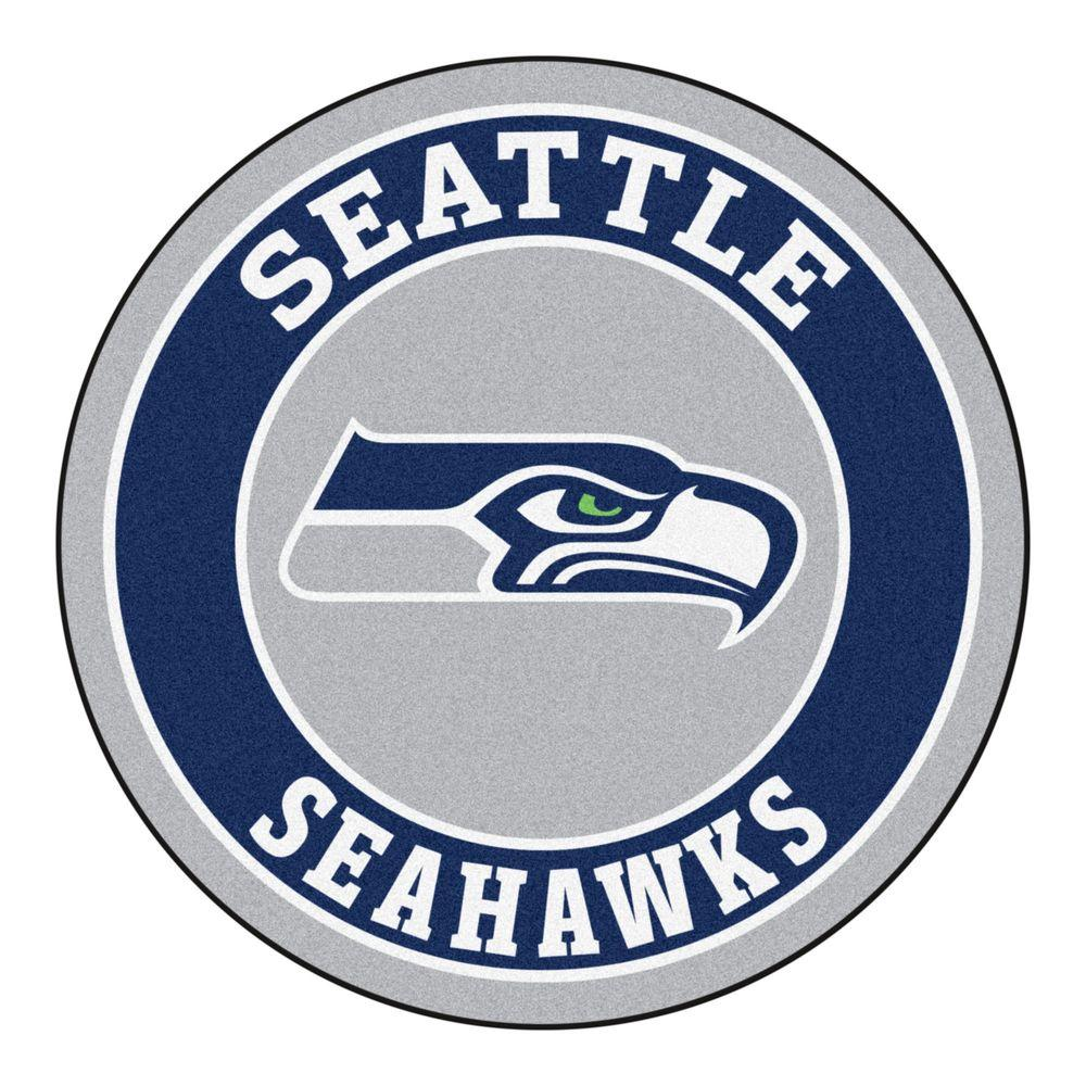 FANMATS NFL Seattle Seahawks Navy 2 Ft. Round Area Rug