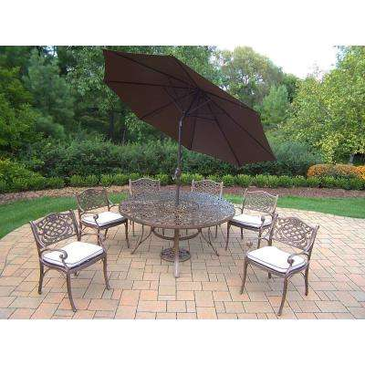 9-Piece Aluminum Outdoor Dining Set with Table 6 Cushioned Aluminum Chairs Metal Umbrella and Metal Stand