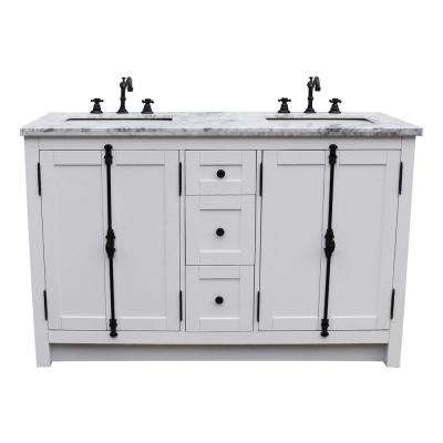 Plantation 55 in. W x 22 in. D Double Bath Vanity in White with Marble Vanity Top in White with White Rectangle Basins