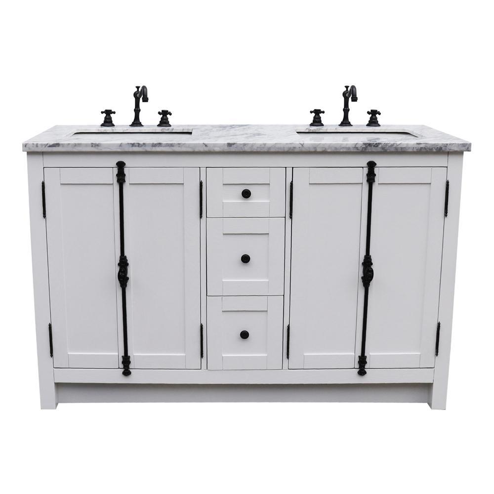Bellaterra Double Bath Vanity White Marble Vanity Top White Rectangle Basins