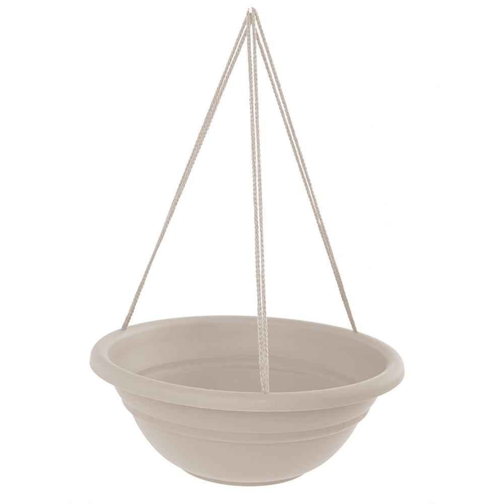 Milano 17 in. Taupe Plastic Hanging Basket