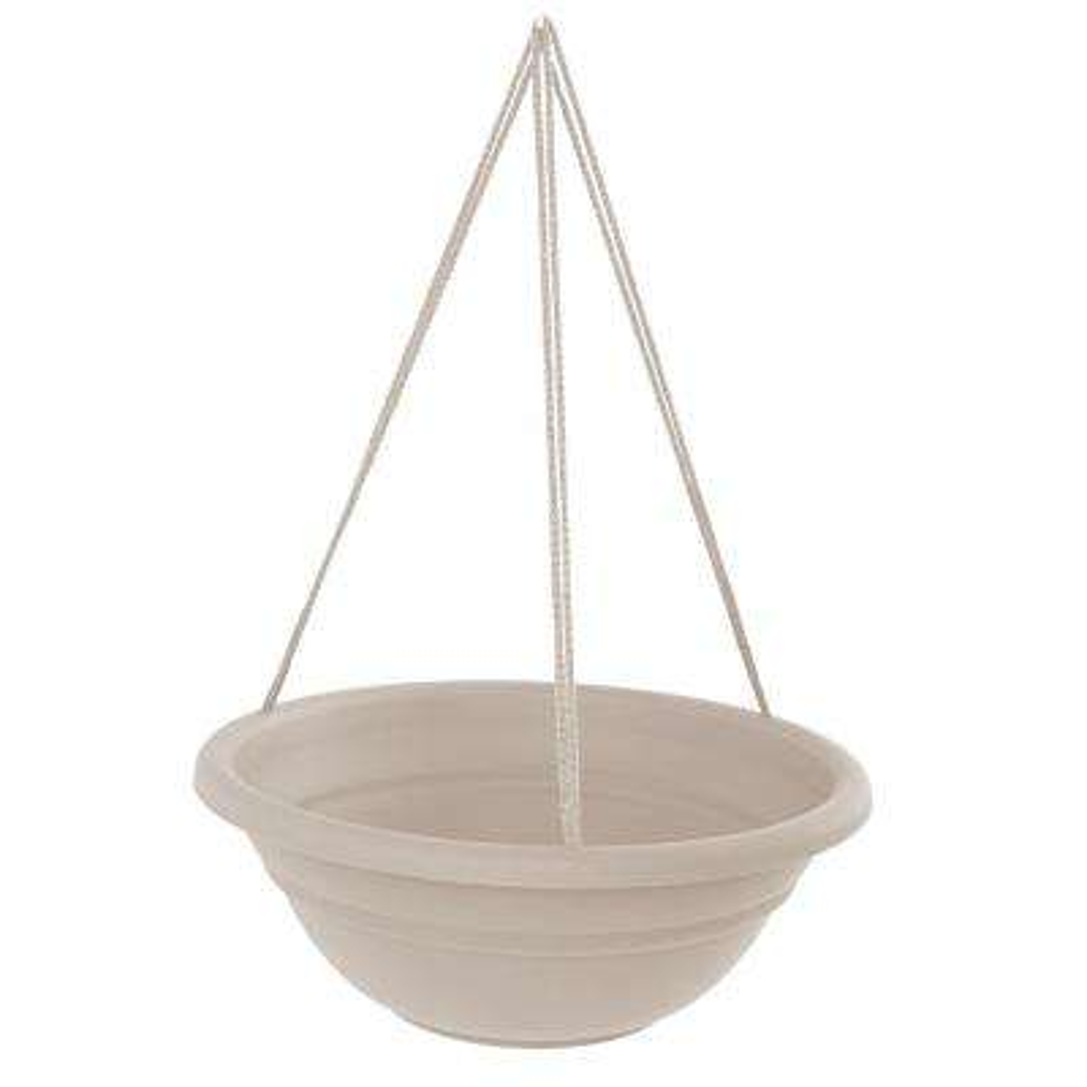 Milano 17 in. Taupe Plastic Hanging Basket