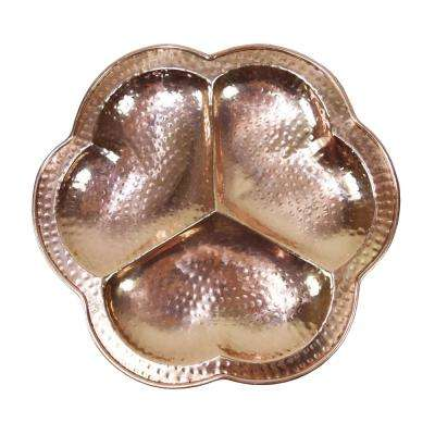 Hand Hammered Solid 100% Pure Copper Round Serving Tray Platter with Anti-Scratch Pads 13 in. L x 13 in. W x 1.25 in. H
