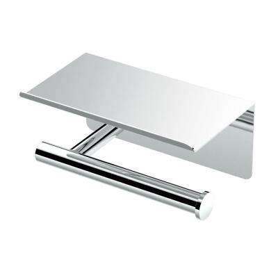 Latitude II Toilet Paper Holder with Mobile Shelf in Chrome
