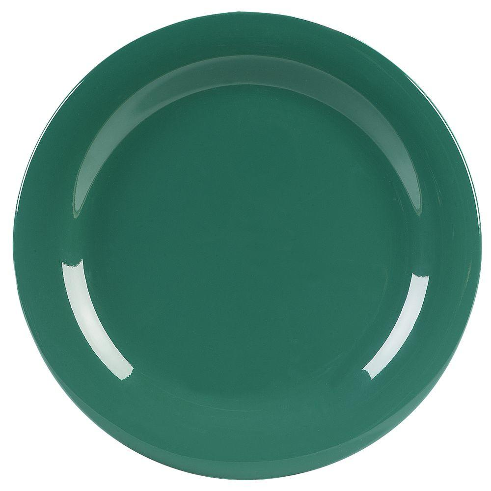 10.5 in. Diameter Melamine Narrow Rim Dinner Plate in Green (Case