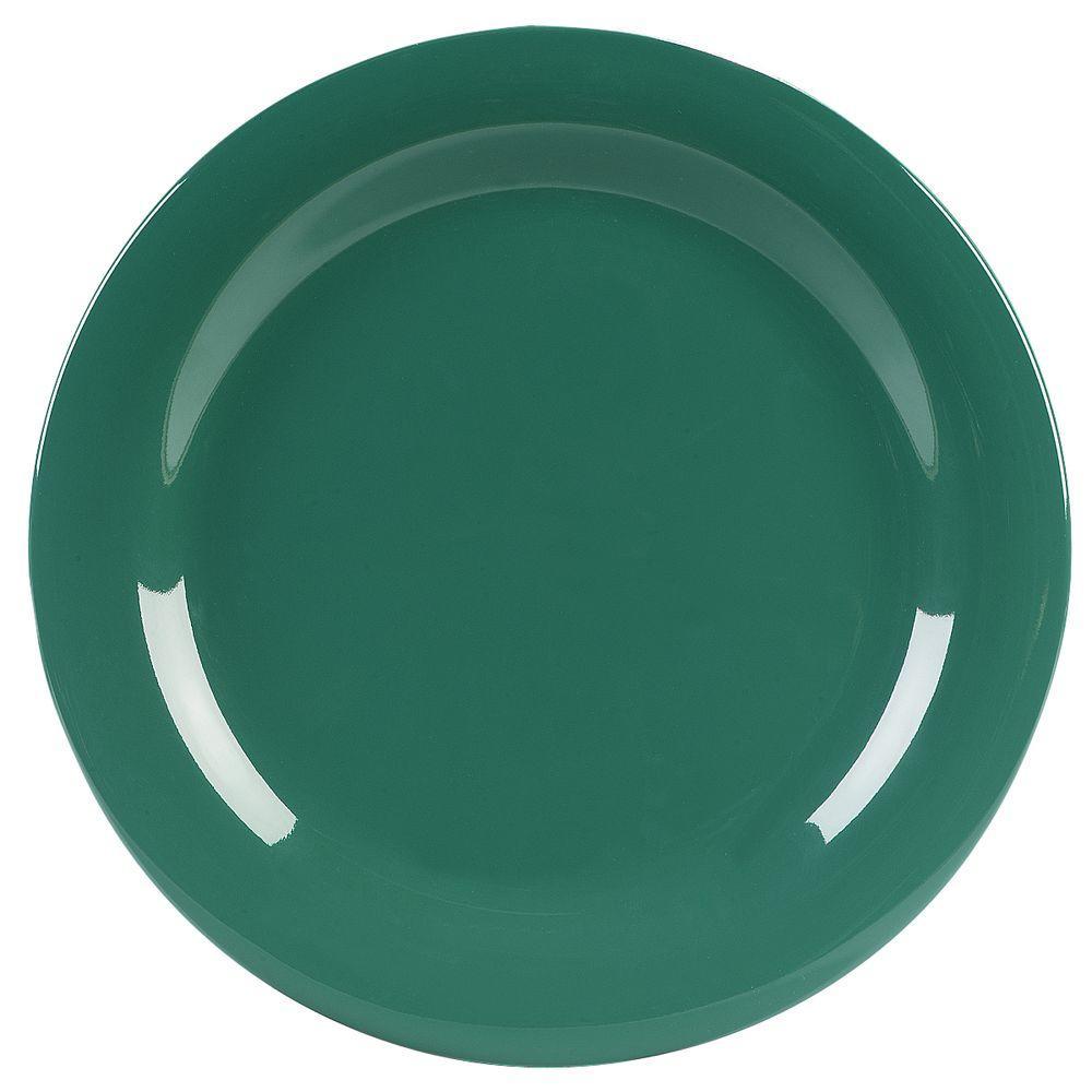 10.5 in. Diameter Melamine Narrow Rim Dinner Plate in Green (Case of 12)