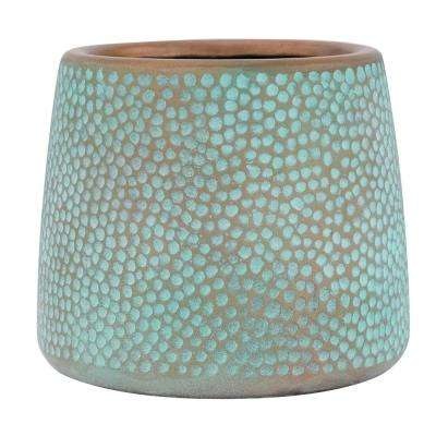 9 in. H Medium Patina Green Composite Inverted Taper Hammered Planter