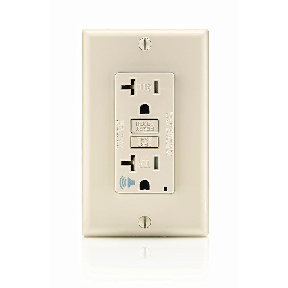Leviton 20 Amp Smartlockpro Self Test Slim Gfci Outlet With Audible