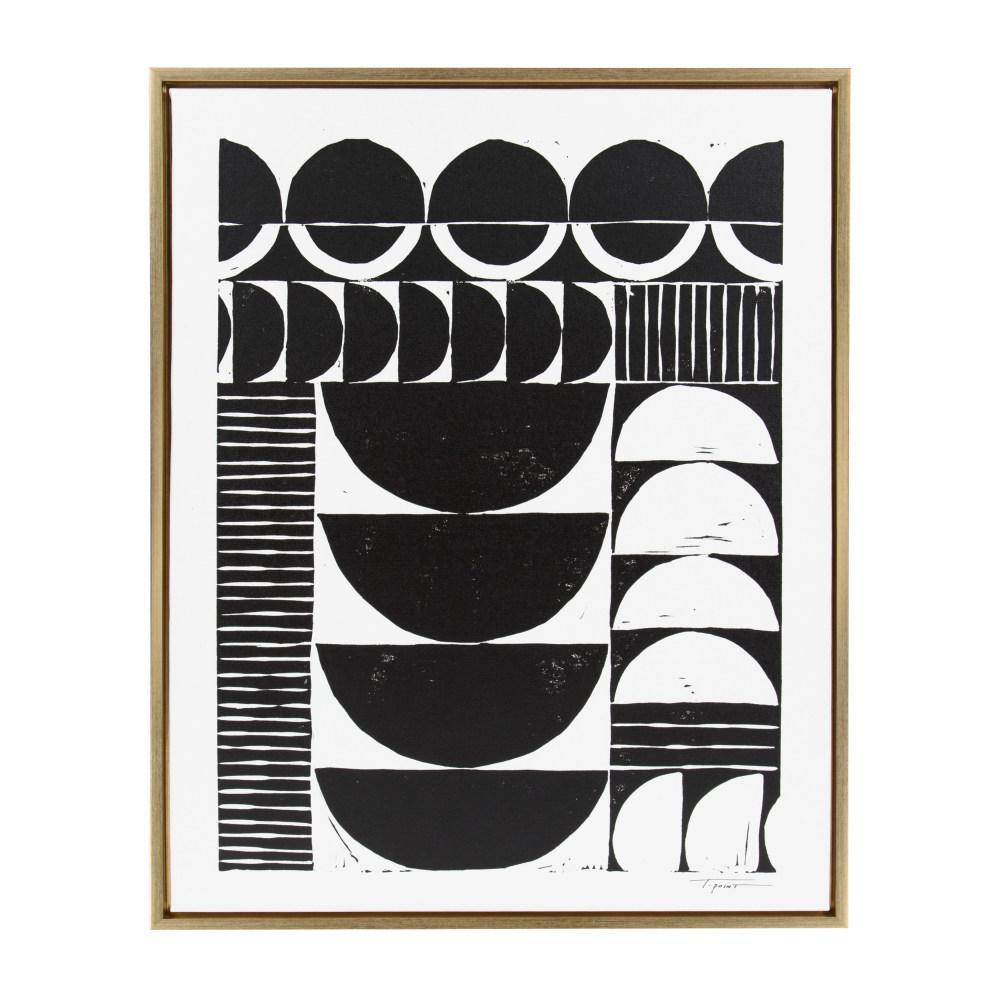 "Sylvie ""Modern Circular Pattern Block Print"" by Statement Goods Framed Canvas Wall Art"
