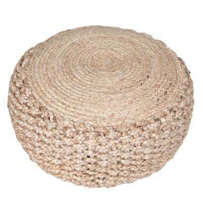 Criss Knit Hemp Natural Round 20 in. x 10 in. Indoor Floor Pouf