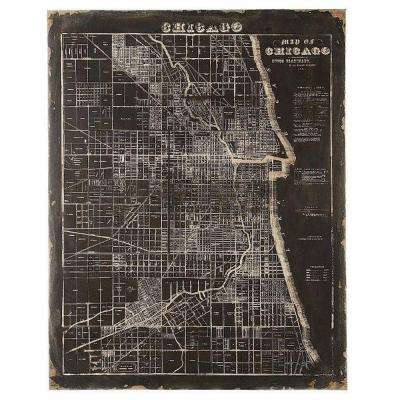 45 in. H x 35.5 in. W MDF and Canvas Map of Chicago Wall Art