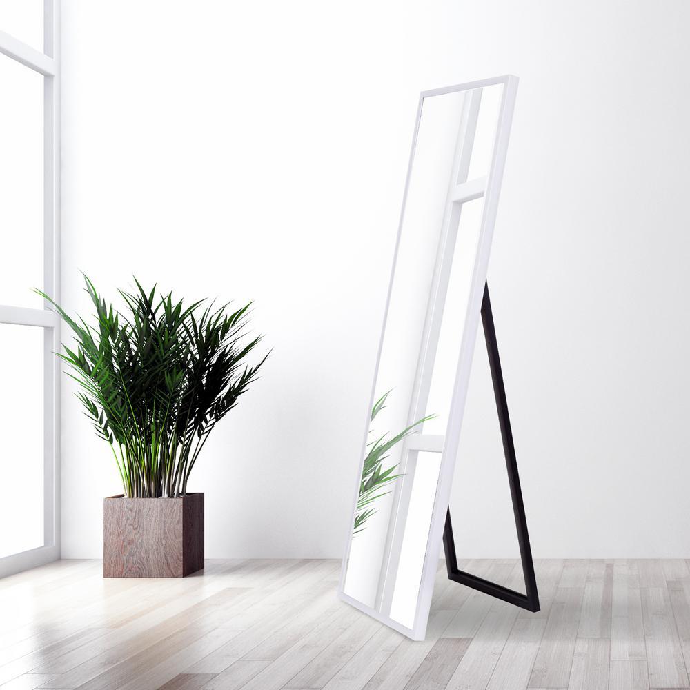 Bainbri Adjustable Rectangular White Floor Mirror