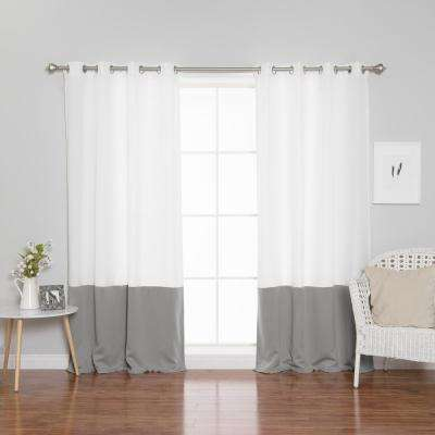 96 in. L Polyester Oxford Dove Colorblock Curtains in White (2-Pack)
