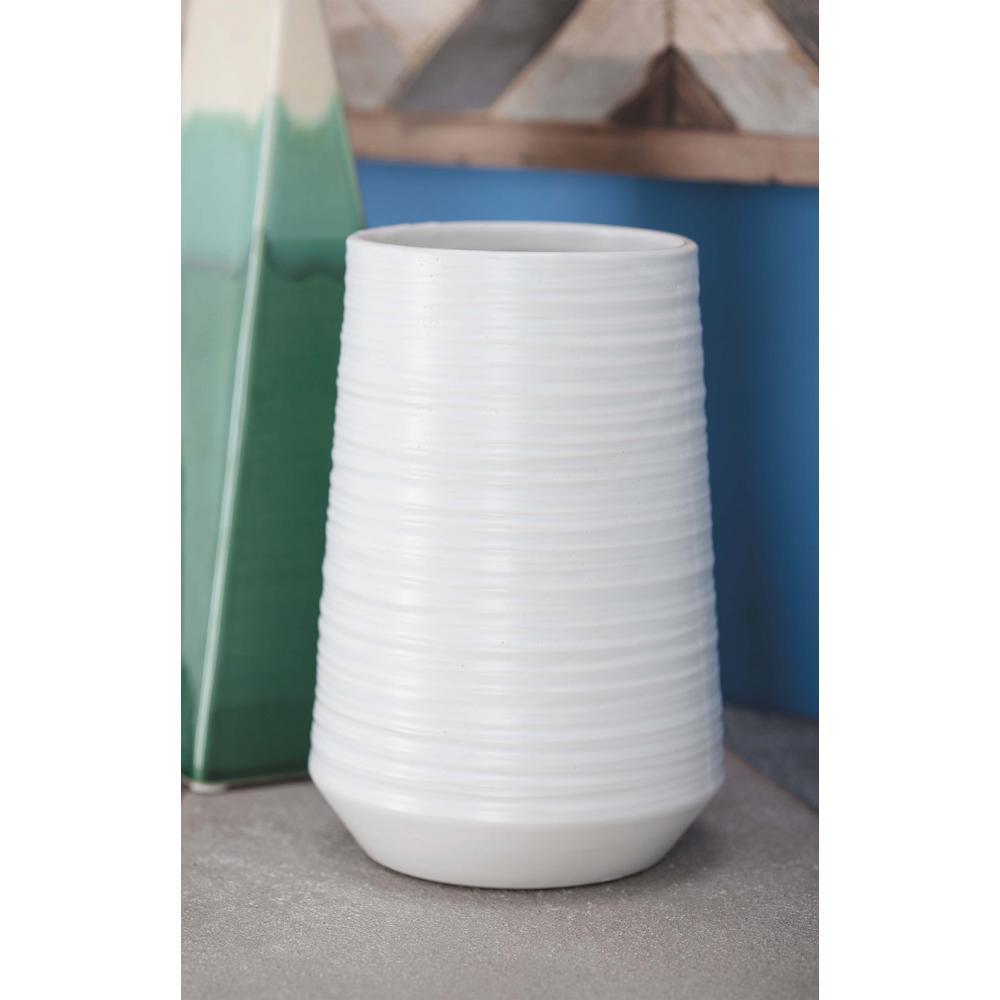 7 in. Pear-Shaped White Ceramic Decorative Vase