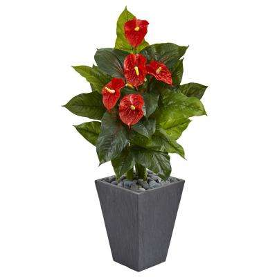 Real Touch 4 ft. Indoor Anthurium Artificial Plant in Slate Planter