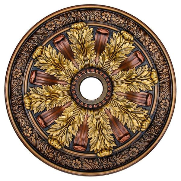 Fine Art Deco Sunshine Illusion Bronze Gold Copper 30 In Polyurethane Hand Painted Ceiling Medallion Ccmf 036 The Home Depot